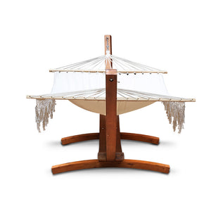 Ava - Tasseled Double Hammock with Wooden Stand - end view