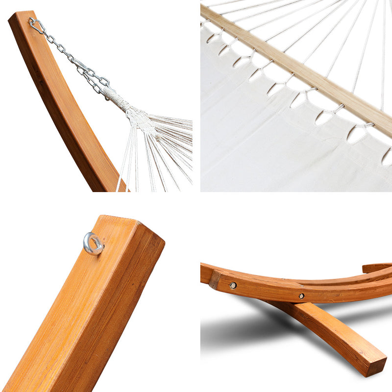 Ava - Tasseled Double Hammock with Wooden Stand - latch close up