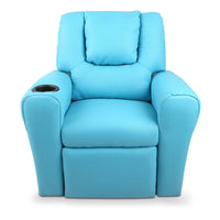 Kids Padded PU Leather Recliner Chair - Blue - HomeSimplicity