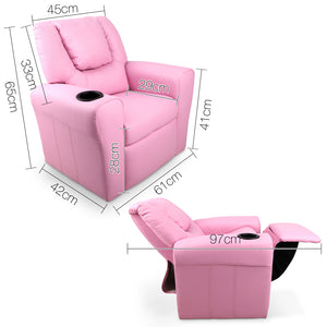 Kids Padded PU Leather Recliner Chair - Pink - HomeSimplicity