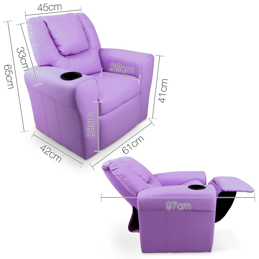 Kids Padded PU Leather Recliner Chair - Purple - HomeSimplicity