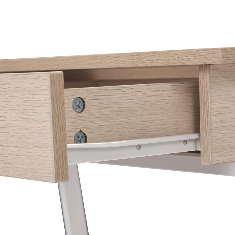 Oak Top Desk with Drawer draw open side view