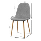 Adam - Fabric Dining Chair (Set of 4) measurments