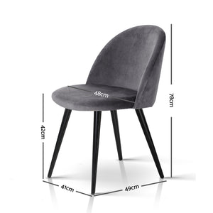 Brody Velvet Dining Chair (Set of 2) - measurements