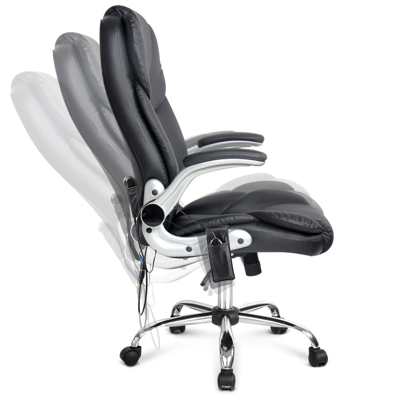 8 Point PU Leather Massage Chair adjustable back