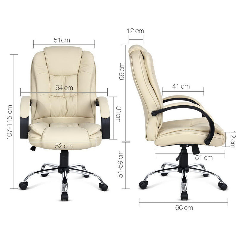 Executive Office Chair - Beige measurements