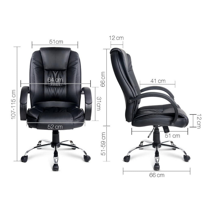 Lesley Executive Office Chair - Black measurements