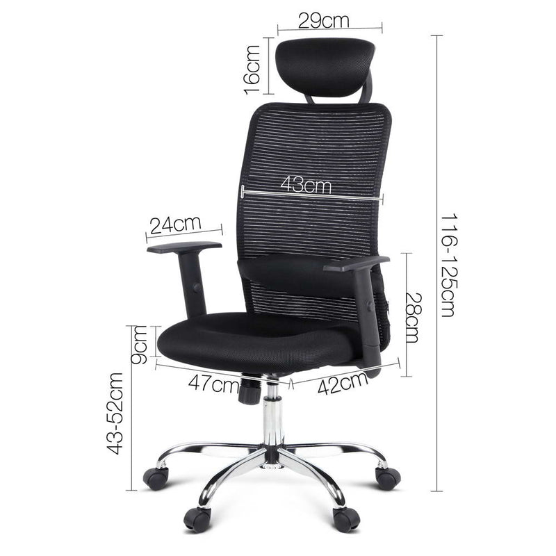 Mesh High Back Office Chair - Black measurements