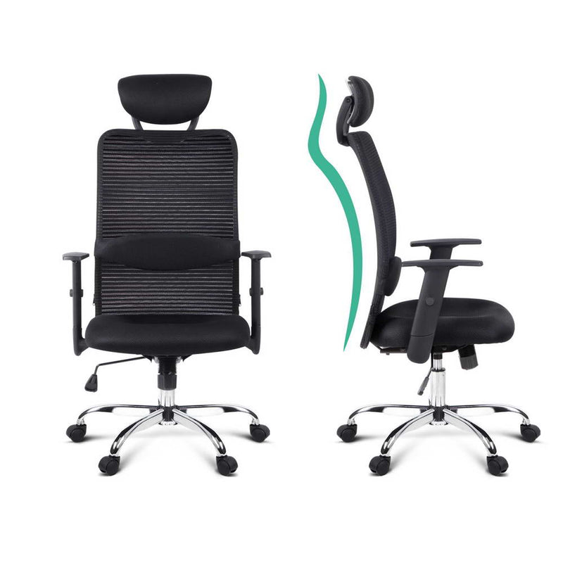 Mesh High Back Office Chair - Black back support