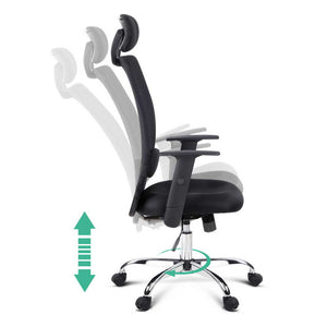 Mesh High Back Office Chair - Black adjustments available