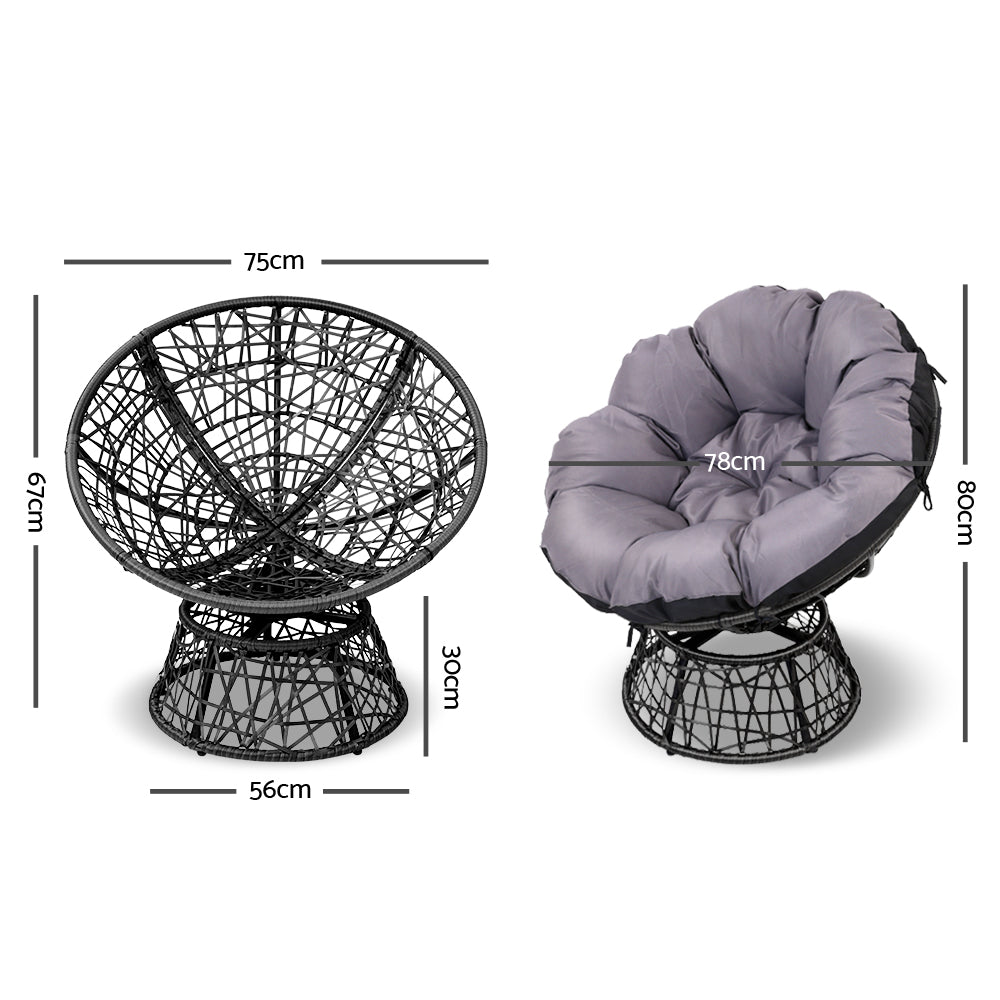 Single Papasan Chair - Black measurements