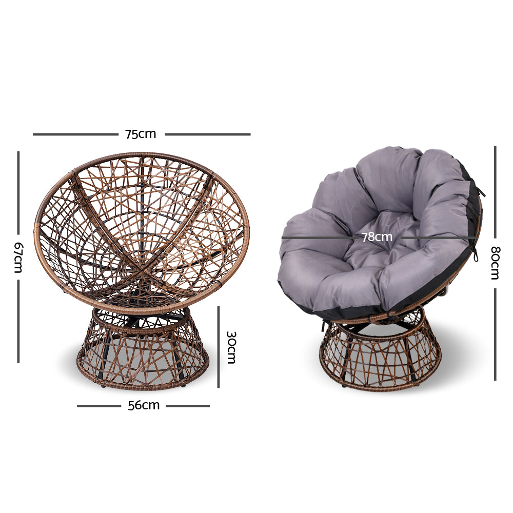 Single Papasan Chair - Brown - measurements