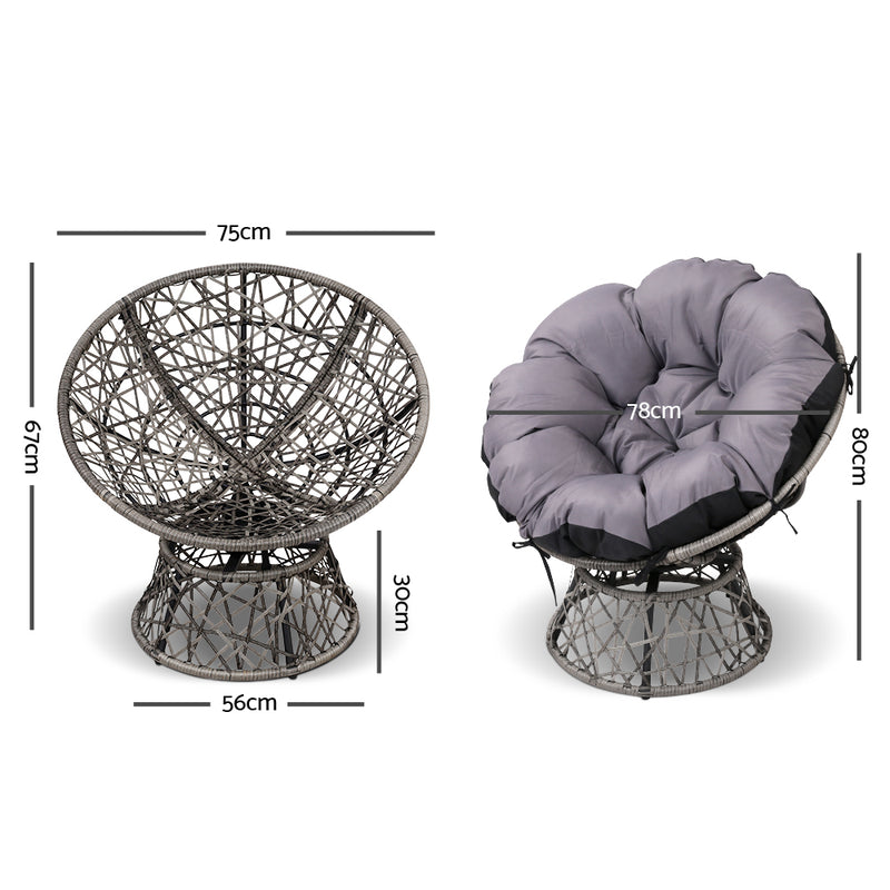 Single Papasan Chair - Grey measurements