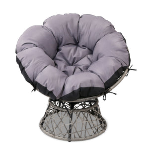 Single Papasan Chair - Grey frong view