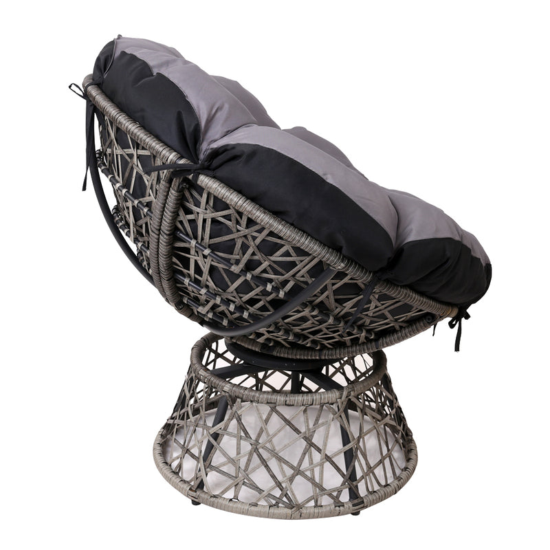 Single Papasan Chair - Grey side view