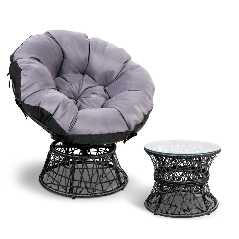 Papasan Chair and Side Table - Black
