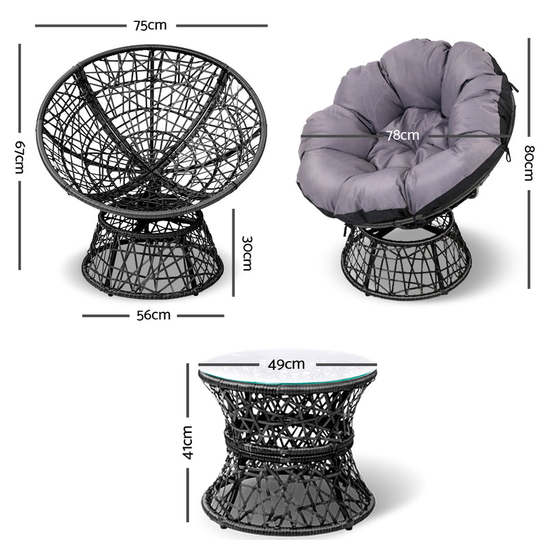 Papasan Chair and Side Table - Black measurements