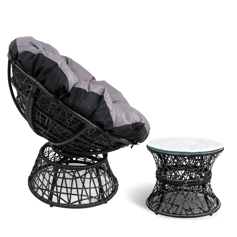 Papasan Chair and Side Table - Black side view