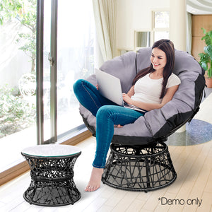 Papasan Chair and Side Table - Black demo picture