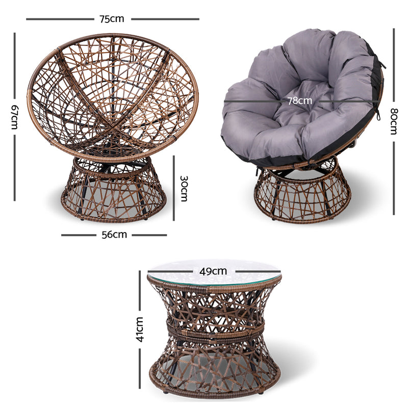 Papasan Chair and Side Table - Brown measurements