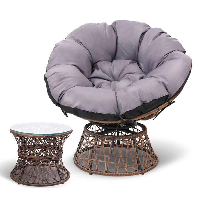 Papasan Chair and Side Table - Brown front