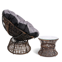 Papasan Chair and Side Table - Brown side