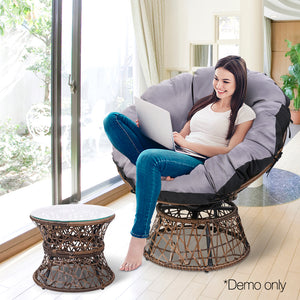 Papasan Chair and Side Table - Brown demo view