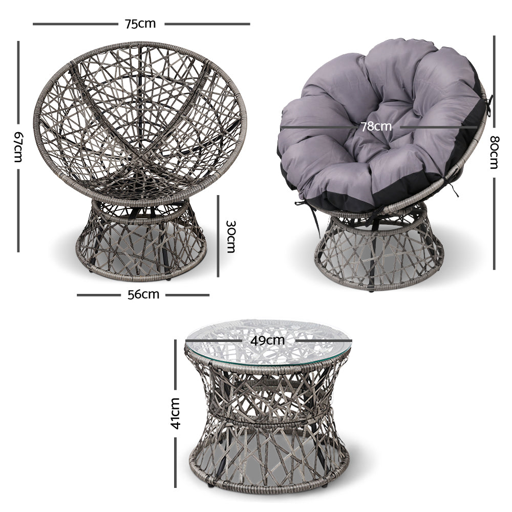 Papasan Chair and Side Table - Grey measurements
