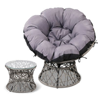 Papasan Chair and Side Table - Grey front