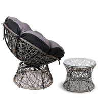 Papasan Chair and Side Table - Grey side