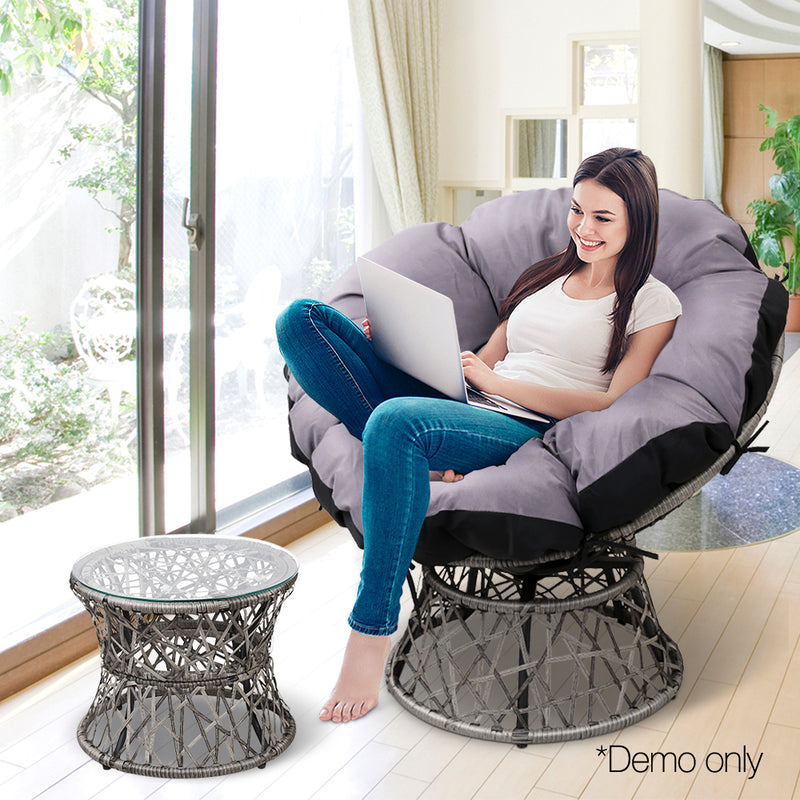 Papasan Chair and Side Table - Grey demo picture