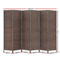 Jessie 6 Panel Room Divider measurements