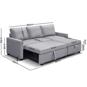 Aster Three Seater Sofa Bed with Storage measurements seat out