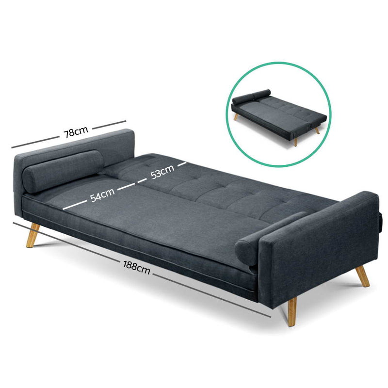 Basil 3 Seater Sofa Bed measurements as bed