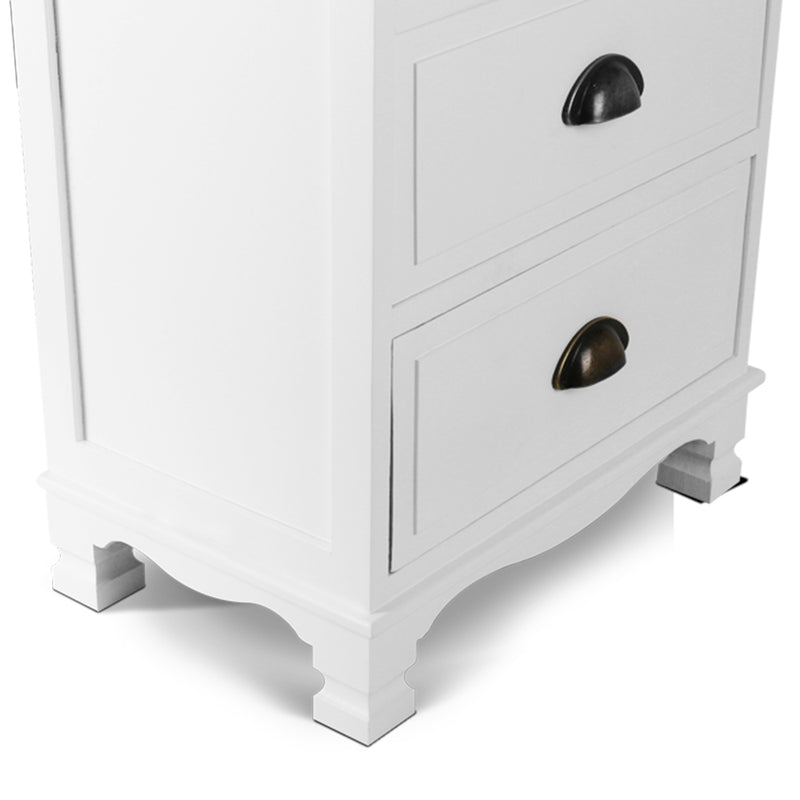 Vintage Look Nightstand - White side view