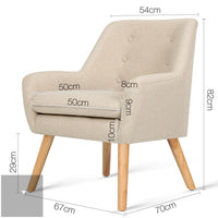 Anne Fabric Armchair - Beige measurements