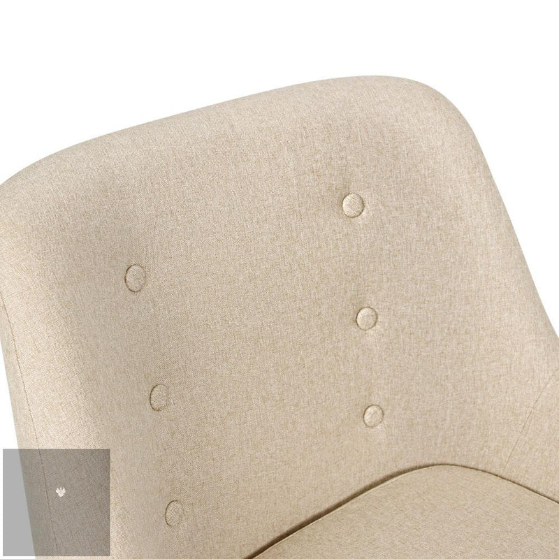 Anne Fabric Armchair - Beige back rest