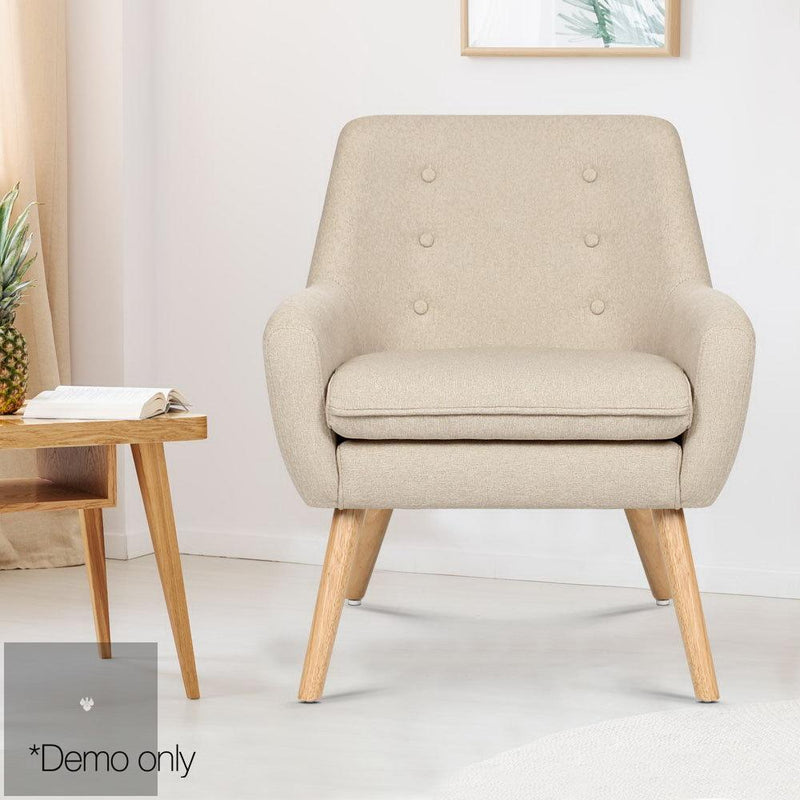 Anne Fabric Armchair - Beige demo picture