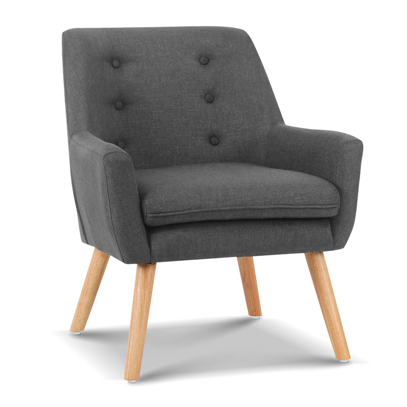 Ted Fabric Armchair - Charcoal