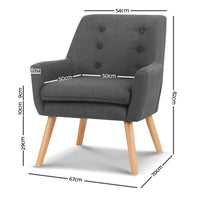 Ted Fabric Armchair - Charcoal measurements