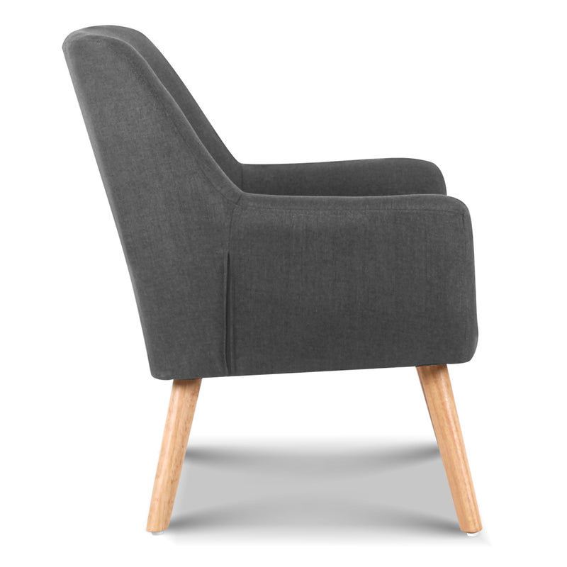 Ted Fabric Armchair - Charcoal side view