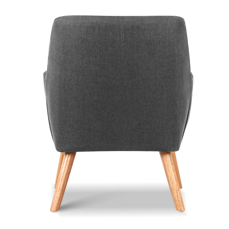 Ted Fabric Armchair - Charcoal back rest