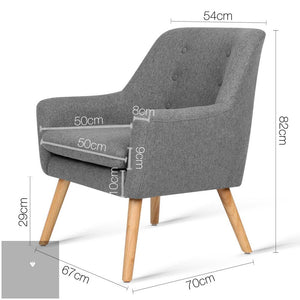 Theo Fabric Armchair - Grey measurements