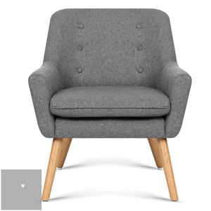 Theo Fabric Armchair - Grey front