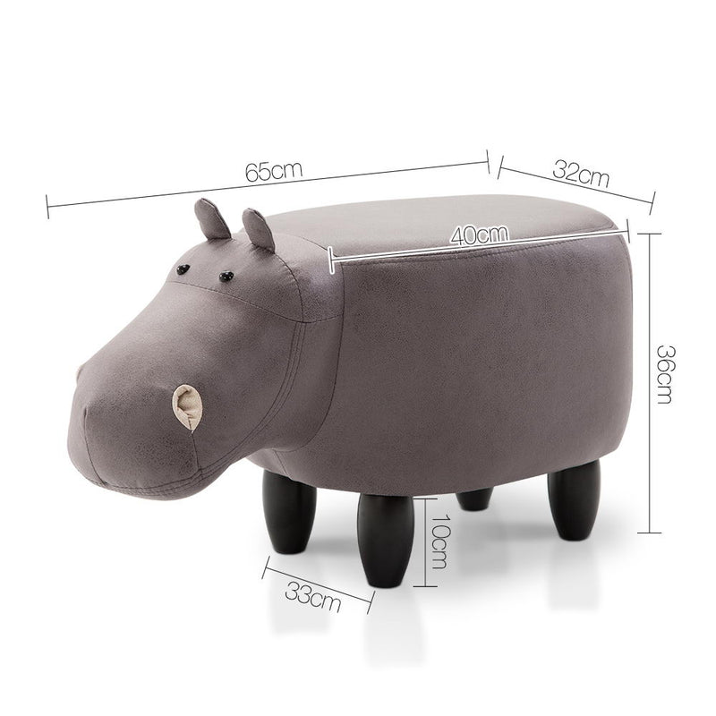 Kids Hippopotumus Stool - Grey - HomeSimplicity