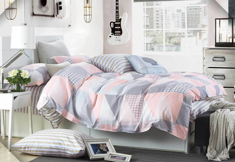 Zig Zag King Quilt Cover - Pink/Blue