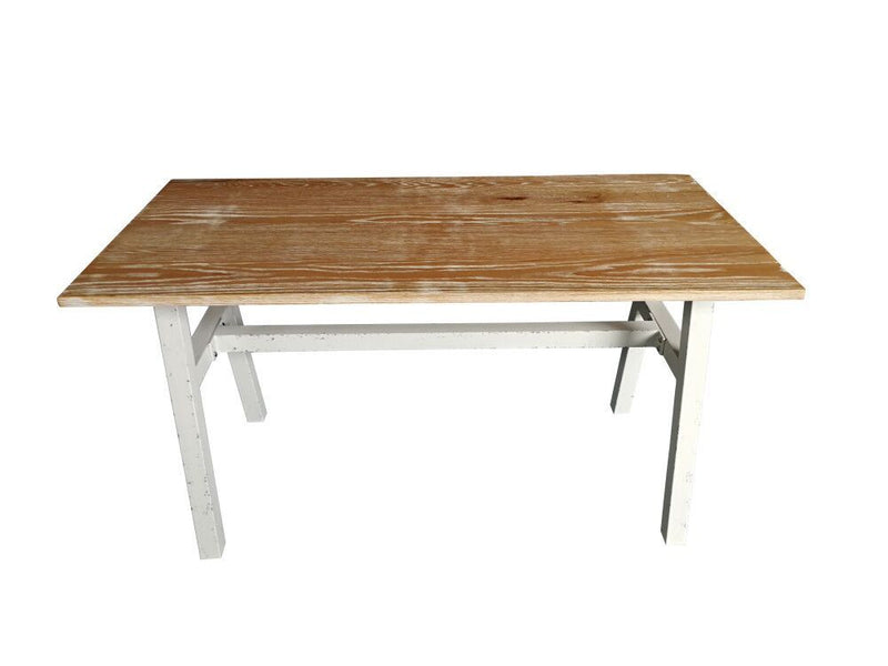 Steel Dining Table With Ash Wood Top view 2