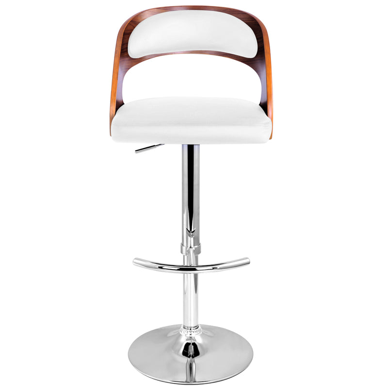 James - Wooden Bar Stool with White Seating - Single - HomeSimplicity