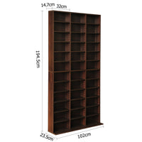 Adjustable CD & Bookshelf - Brown outside measurements
