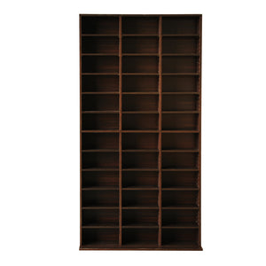 Adjustable CD & Bookshelf - Brown front view